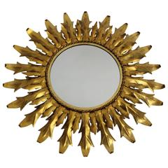 Mid Century Modern Gilded Metal Sunburst Mirror with Curved Leaves Italy