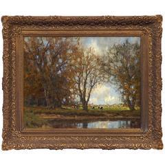 """""""Autumn Pastoral Landscape"""" by Dutch Painter Arnold Marc Gorter"""