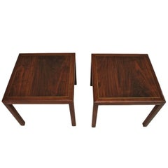 Beautiful Pair of Probber Style Side Tables, Made of Rosewood and Brass Inlaid