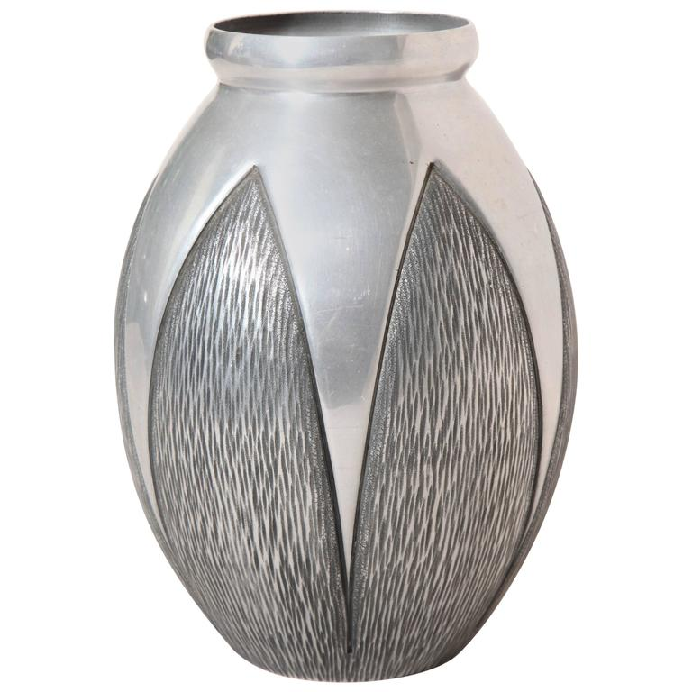 Rene Delavan French Art Deco Hand Hammered Aluminum Vase At 1stdibs