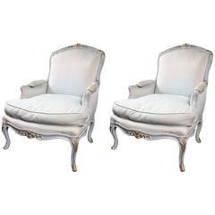 pair of louis xv style beechwood painted bergres manner of jansen