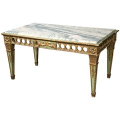 Hollywood Regency French Sage Paint Decorated Marble-Top Coffee Table by Jansen