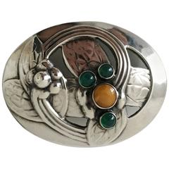 Georg Jensen Sterling Silver Brooch with Amber and Green Stones