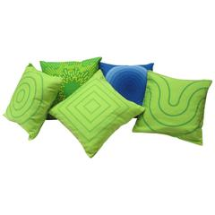 Set of Four Pillows Using Vintage Fabric Designed by Verner Panton