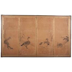 Japanese Painted Paneled Screen