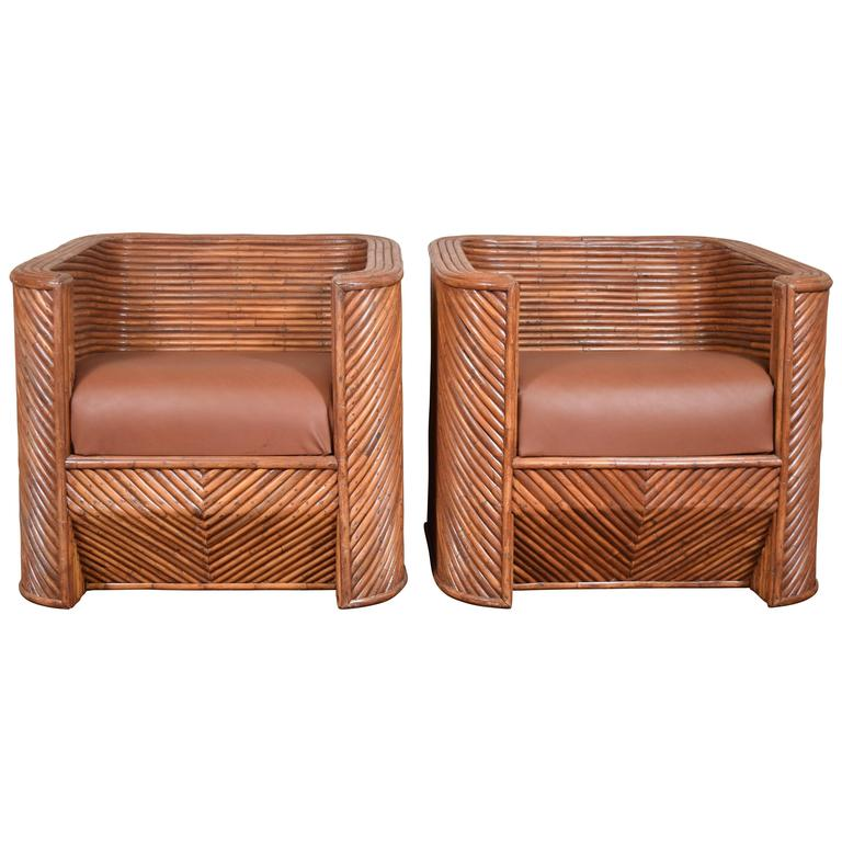Pair of Bamboo Club Chairs For Sale
