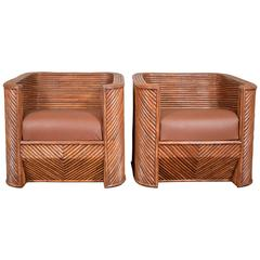 Pair of Bamboo Club Chairs