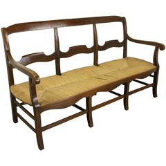 Antique French Walnut Rush Seat Sofa