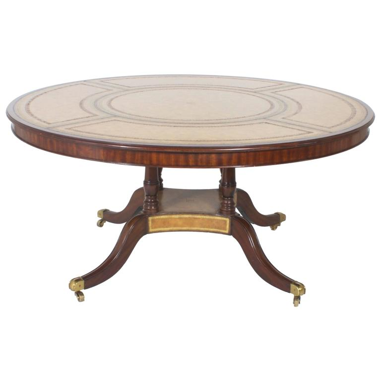 Round Leather Top Dining Or Library Table For Sale