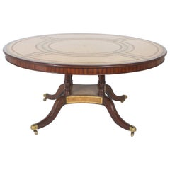 Round Leather Top Dining or Library Table