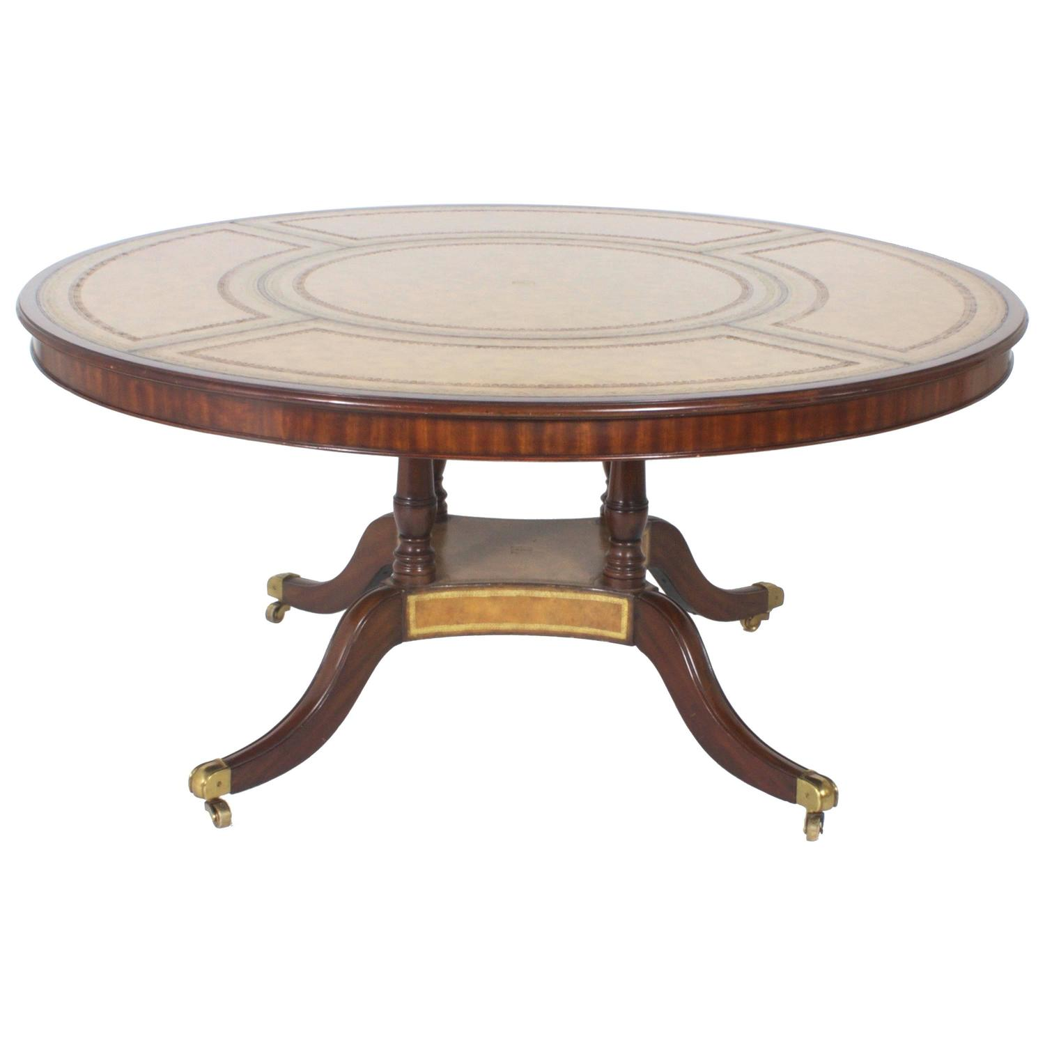 Round Leather Top Dining or Library Table For Sale at 1stdibs