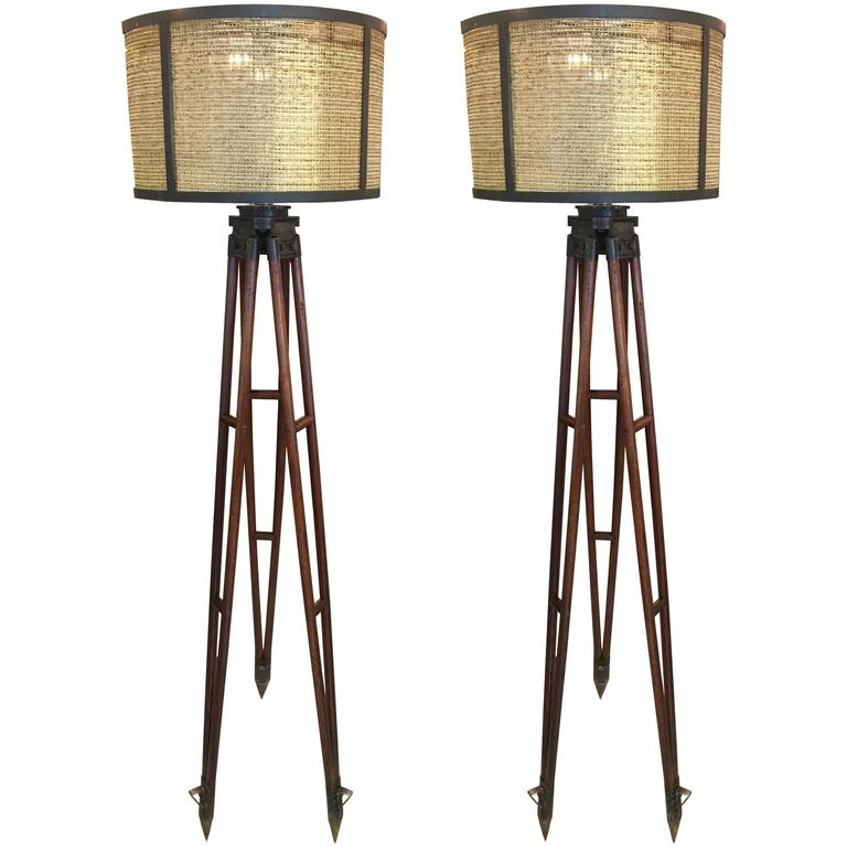 Pair of surveyors floor lamps at 1stdibs for Surveyors floor lamp wood