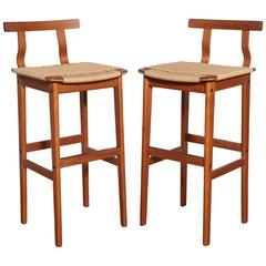 Pair of 1960s Danish Modern Teak and Woven Cord Bar Stools