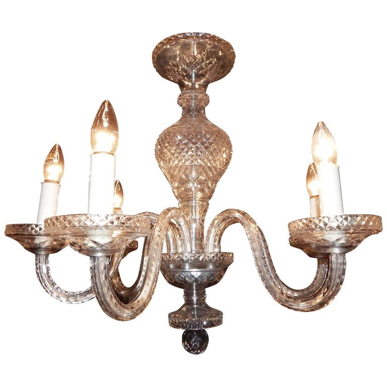 Waterford Style Six-Light Chandelier For Sale