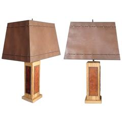 Pair of Ranch Oak Western Theme Cottage Lodge Table Lamps
