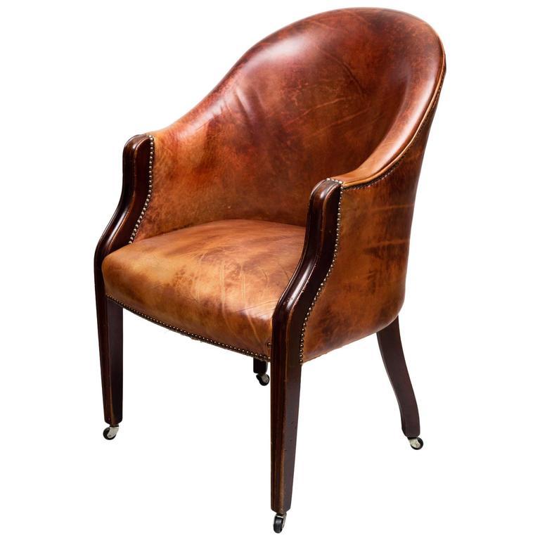 Edwardian Leather Tub Chair