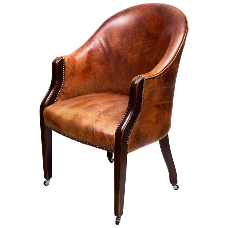 Edwardian Leather Tub Chair For