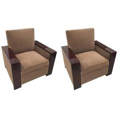 Pair of Streamline French Art Deco Club Chairs
