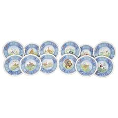 Set of 12 Copeland Spode Game Bird Dinner Plates with White Borders