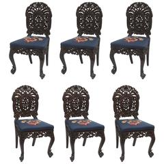 Superb Set of Six 19th Century Anglo-Indian Side Chairs