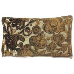 Petite Vintage Art-Deco Style  Brown and Gold Silk Velvet Lumbar Pillow