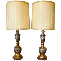 Pair of Monumental Brass Table Lamps in the Style of James Mont
