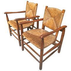 Charlotte Perriand Genuine Early Pair of Rush Armchairs in Vintage Condition