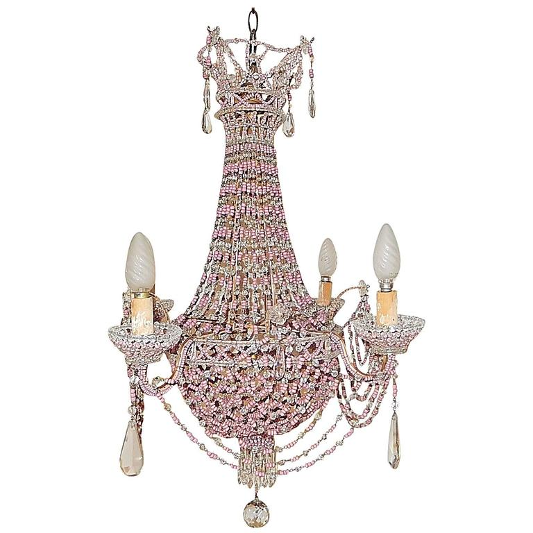 French Pink Opaline Beaded Basket Crystal Chandelier For