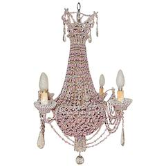 French Pink Opaline Beaded Basket Crystal Chandelier