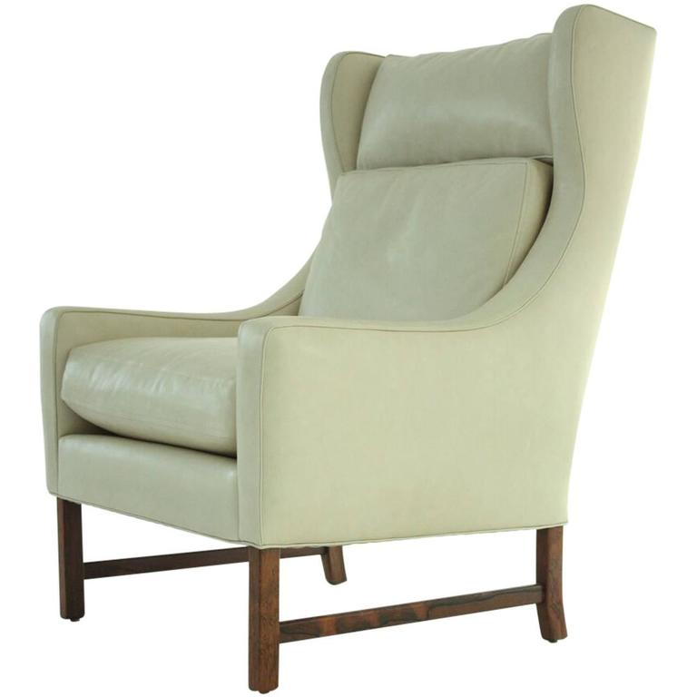 Scandinavian Modern High Back Lounge Chair in Leather 1