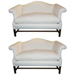 Pair of Chippendale Style Camelback, Sofa or Settees, Early 20th Century