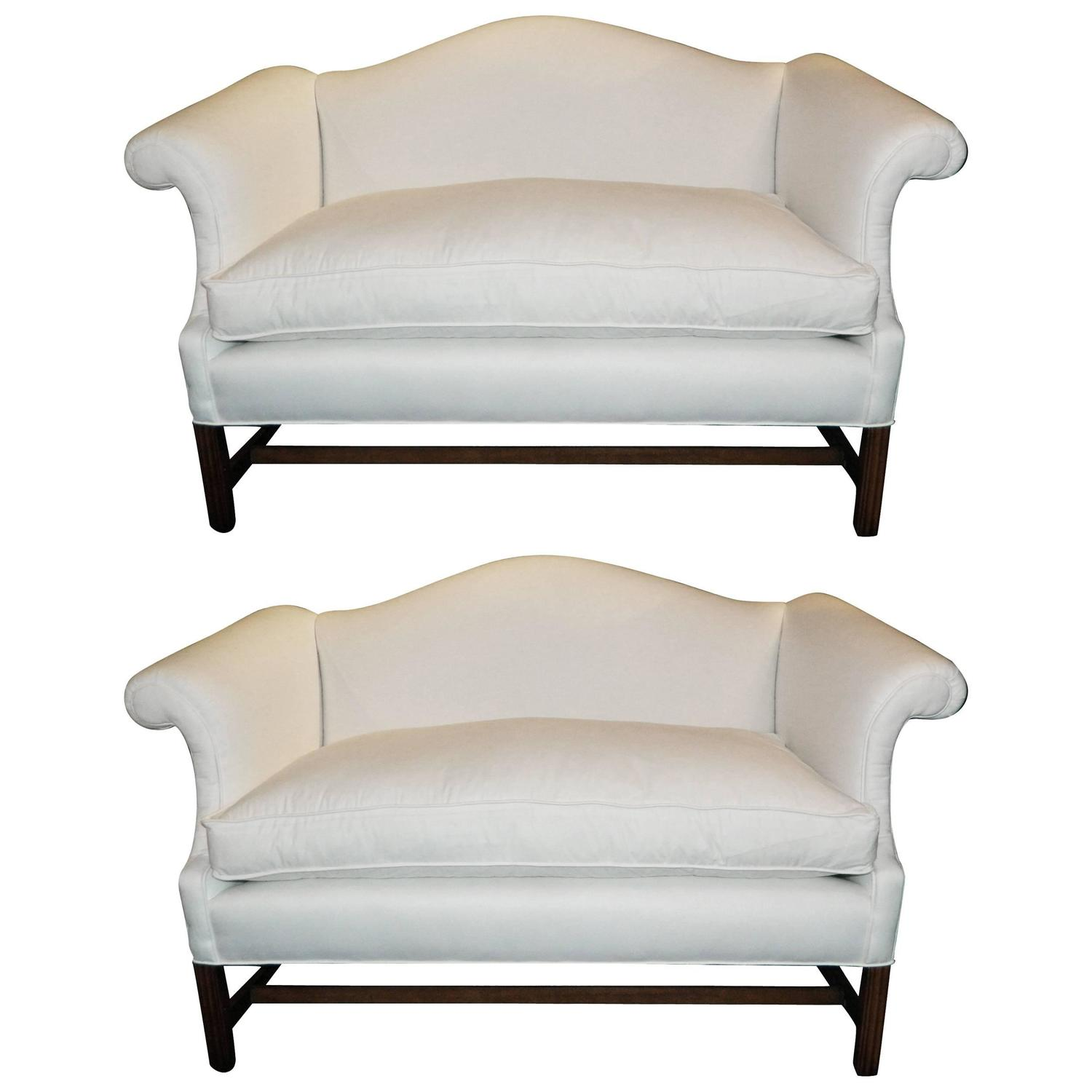 Pair Of Chippendale Style Camelback Sofa Or Settees Early 20th Century At 1stdibs