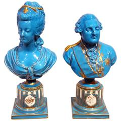 Pair of Sevres Porcelain Busts of Louis XVI and Marie Antoinette, 19th Century