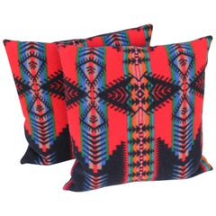 Pair of Vintage Pendleton Indian Design Blanket Pillows
