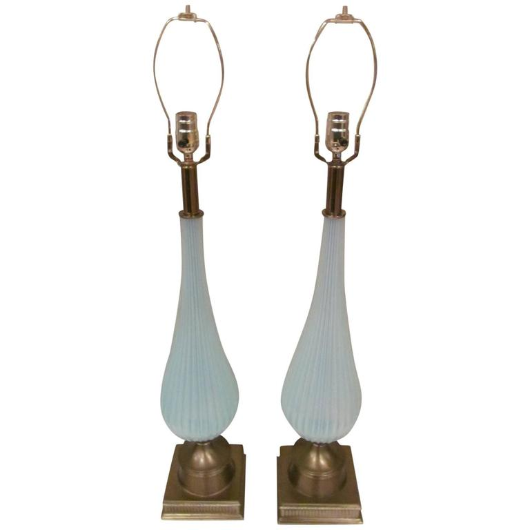 Pair of Large Murano Opalescent Lamps
