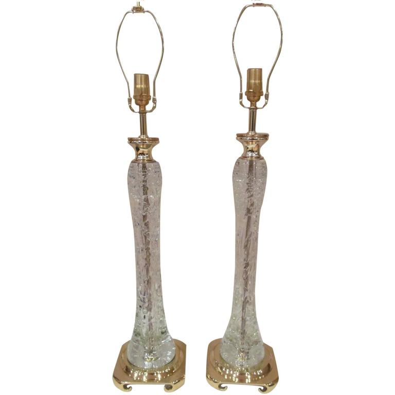 Pair of Clear Rock Crystal Lamps  For Sale
