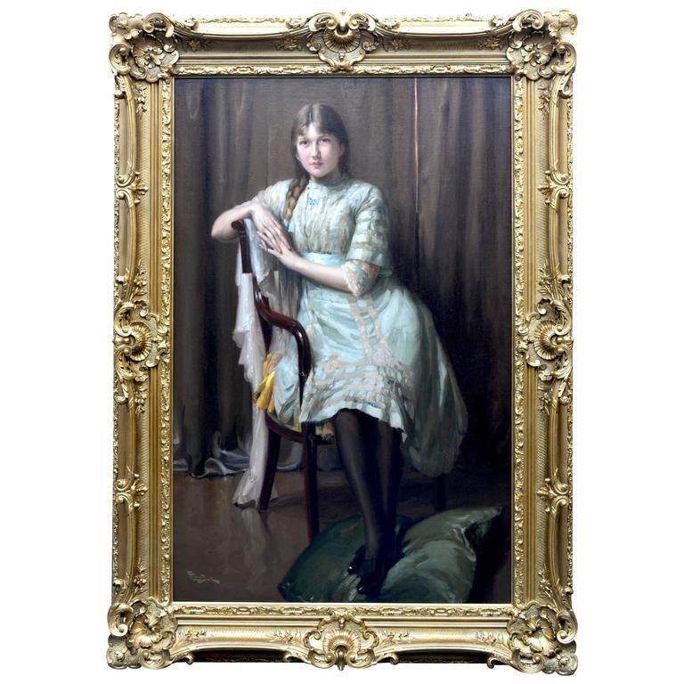 """""""La Jeune Femme"""" Painting by Fernand Toussaint"""