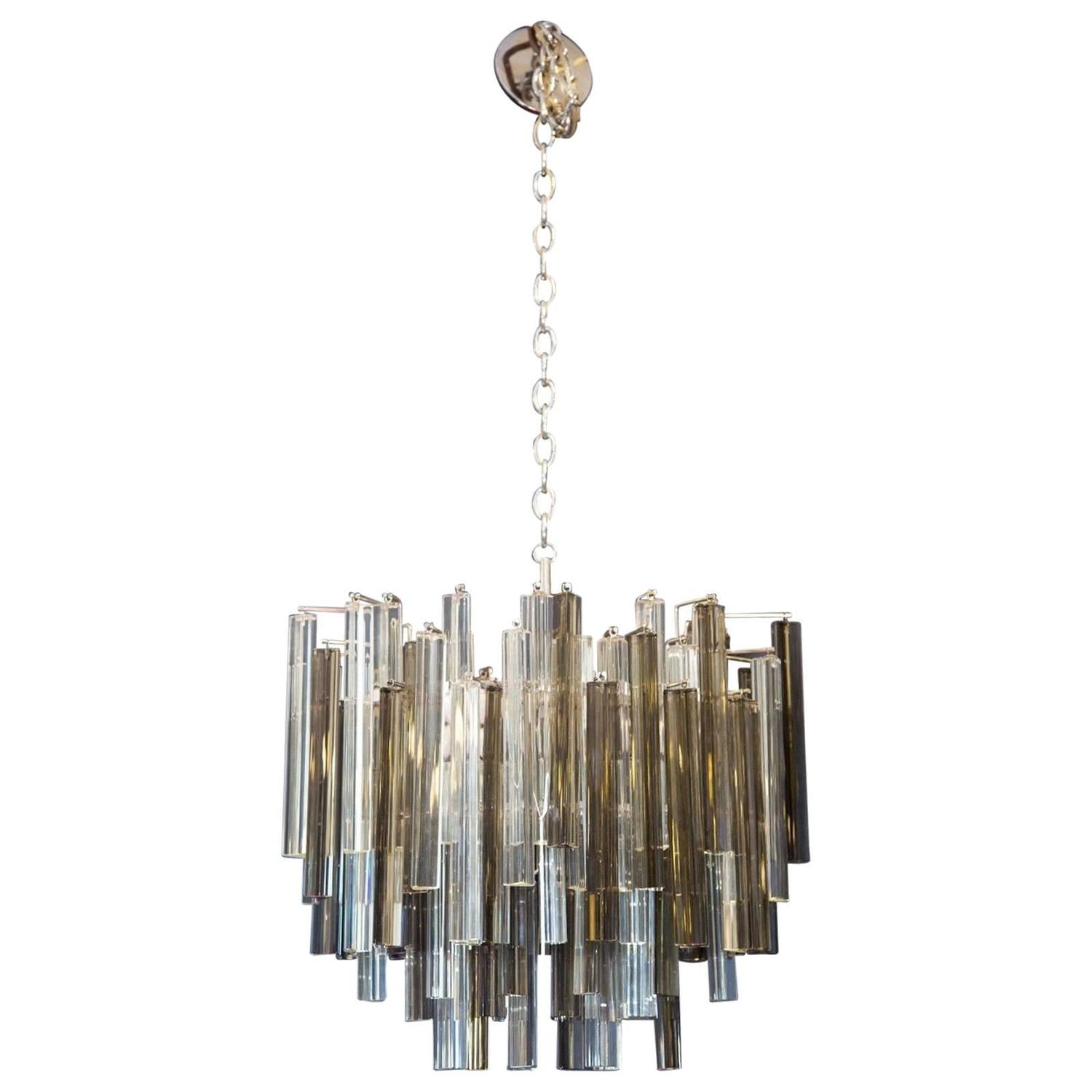 Two Color Smoke And Clear Murano Chandelier By Camer For Sale At