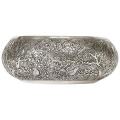 Hand-Worked Solid Silver Bowl, Chinoiserie Blossom and Birds Motif, Centrepiece