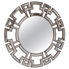 Hollywood-Regency Style Mirror with Greek Key in the Style of James Mont