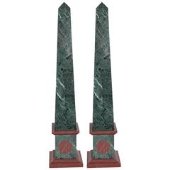 Pair of Grand Tour Obelisks in Green and Red Marble