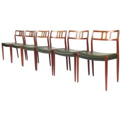 Set of Six Niels O. Møller Model 79 Dining Chairs, Denmark, 1960s