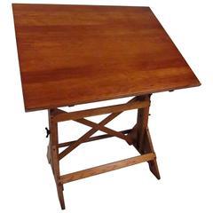 Vintage American Oak Adjustable Drafting Table