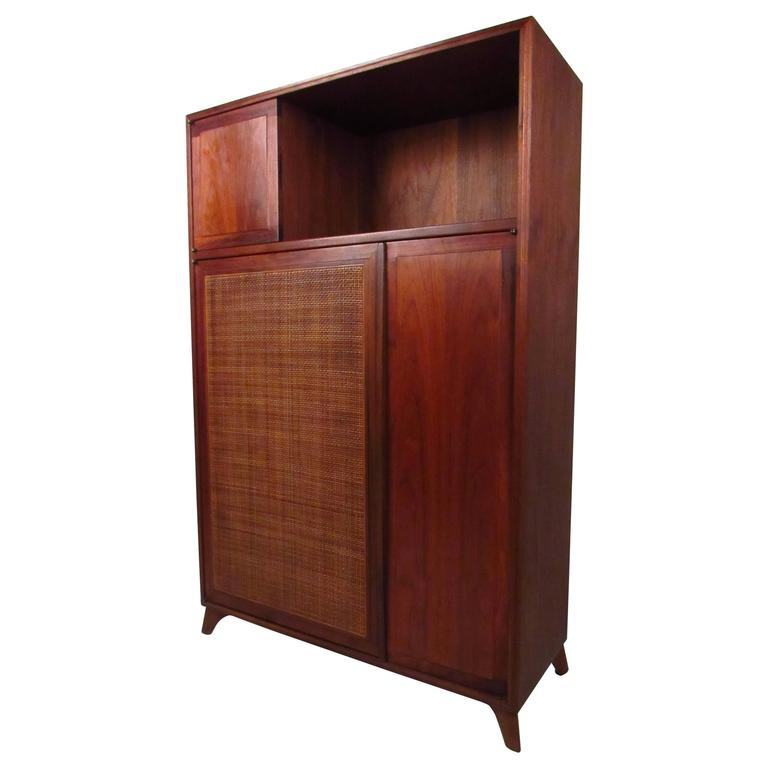Unique Mid Century Modern Cane Front Storage Cabinet For