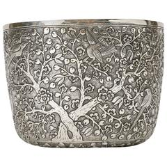 Hand-Worked Solid Silver Chinoiserie Bowl, Blossom and Birds Motif, Centerpiece