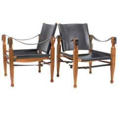 Rare Pair of Mint Black Carl Auböck Safari Chairs, Designed in 1950s