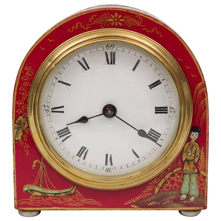 Red Chinoiserie Desk Clock