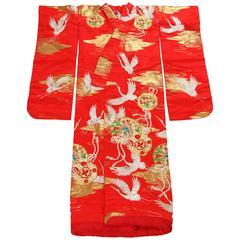 Vintage Japanese Red Silk Ceremonial Kimono