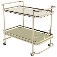 Smoked Glass Gold or Brass Finish Tea or Bar Cart