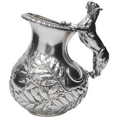 Neoclassical Silver Askos Jug with Tiger Handle